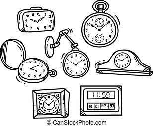 Eine Menge Uhr-Doodle.