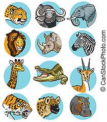 Eine Menge wilder Tiere Ikonen.