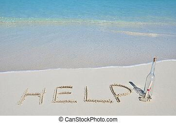 Eine Nachricht am Strand.