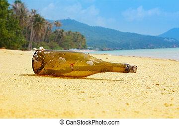 Eine Nachricht auf tropischer Insel.