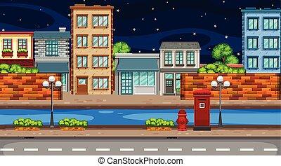 Eine Nachtstadtszene.