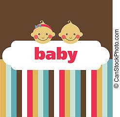 Eine neugeborene Babykarte mit Junge und Mädchen