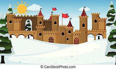 Eine Outdoor-Szene mit Schloss.