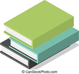Eine Packung Bücher auf dem Tisch Icon, isometrische Stil