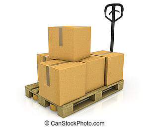 Eine Packung Kartons auf einem Palettenwagen