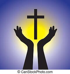 Eine Person, die an den Herrn glaubt, indem sie die heilige Quervektorgrafik hält. Diese Illustration ist ein Konzept eines treuen Christen, der Jesus Christus mit blauem Hintergrund und gelber Sonne anbetet
