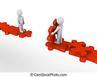 Eine Person, die einem anderen auf dem Weg zum Rätsel hilft