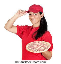 Eine Pizza-Frau