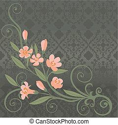 Eine Postkarte mit rosa Blumen