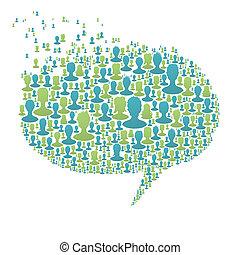 Eine Redeblase, komponiert von vielen Silhouettes. Soziales Netzwerkkonzept, Vektor, EPS8
