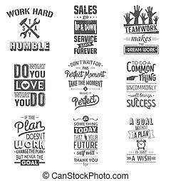 Eine Reihe alter Business Motivation typografische Zitate. Der Grunge-Effekt kann bearbeitet oder entfernt werden.