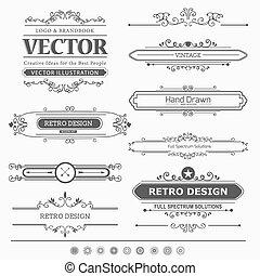 Eine Reihe alter Dekorationselemente