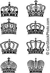 Eine Reihe alter königlicher Kronen.