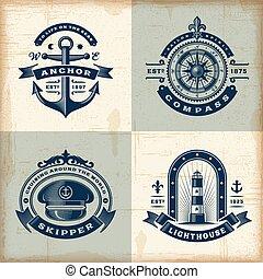 Eine Reihe alter nautischer Etiketten