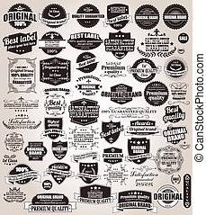 Eine Reihe alter Retro-Labels.