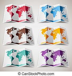 Eine Reihe farbenfroher Karten der Welt.