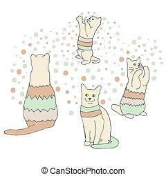 Eine Reihe farbenfroher Katzen.