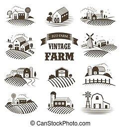Eine Reihe isolierter landwirtschaftlicher Betriebe, Landschaften, Etiketten für landwirtschaftliche Produkte. Bauernhaus-Konzept-Sammlung. Retro Holzschnitt-Art vektorgrafik.