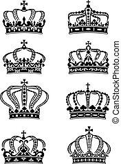 Eine Reihe karitativer königlicher Kronen.