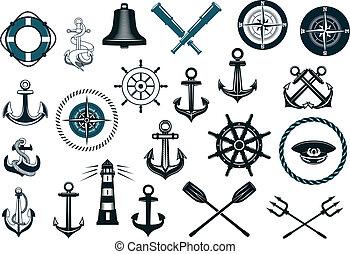 Eine Reihe nautischer Ikonen.