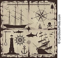 Eine Reihe nautischer Konstruktionselemente