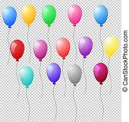 Eine Reihe realistischer Heliumballons auf transparentem Hintergrund. Vector Illustration macht 10