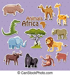 Eine Reihe süßer afrikanischer Tiere Aufkleber, Cartoon Stil, isoliert, Vektor, Illustration.