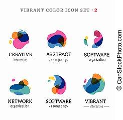 Eine Reihe trendiger abstrakter, lebendiger und farbenfroher Icons.
