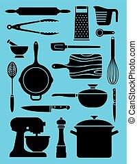 Eine Reihe von 17 Küchen-Küche-Anzeigen.