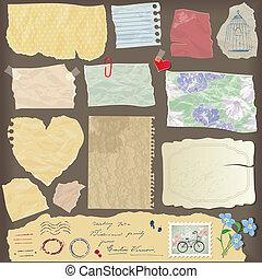 Eine Reihe von alten Papierfrieden - verschiedene alte Papierobjekte, Vintage.