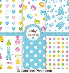 Eine Reihe von Baby- nahtlosen Mustern.