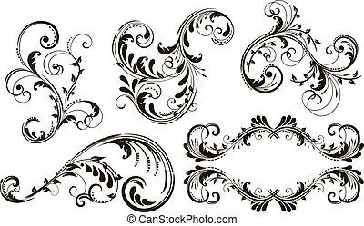 Eine Reihe von Blumenelementen für Design.