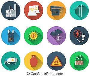 Eine Reihe von Energie-Icons.