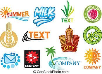 Eine Reihe von Firmensymbolen