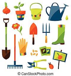 Eine Reihe von Gartendesignelementen und Ikonen.