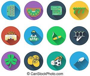Eine Reihe von Glücksspiel-Ikonen.