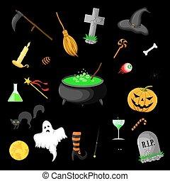 Eine Reihe von Halloween-Objekten, isoliert auf schwarzem Hintergrund.
