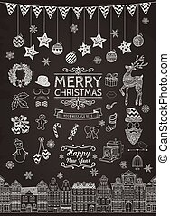 Eine Reihe von handgezeichneten Weihnachtsdoodle-Icons.