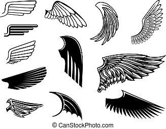 Eine Reihe von heraldischen Flügeln
