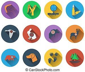 Eine Reihe von Jagdsymbolen.