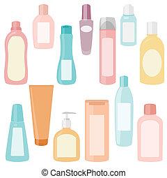 Eine Reihe von Kosmetikbehältern.