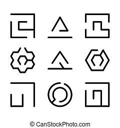 Eine Reihe von Labyrinth-Icons