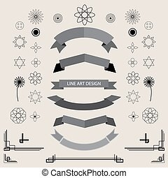 Eine Reihe von linearen Retro-Saft-Designelementen geometrische Form.