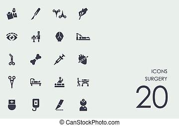 Eine Reihe von Operationssymbolen.
