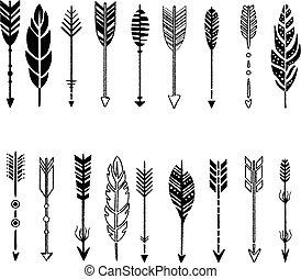 Eine Reihe von Pfeilen, schwarz und weiß in handgezeichnetem Design, Vektorgrafik.