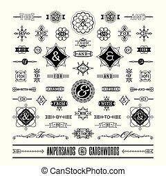 Eine Reihe von Schlagworten Ampersanden in geometrischen Linien formen Art deco Retro Vintage Rahmen.