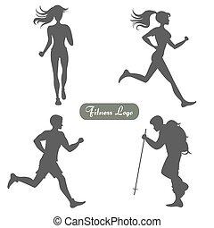 Eine Reihe von Silhouetten von Leuten, die laufen und laufen