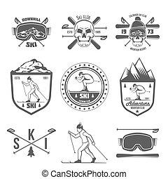 Eine Reihe von Vintage-Labels und Designelementen