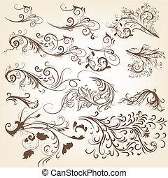 Eine Reihe von Vintage-Vektor-Swirl-Ornamenten.