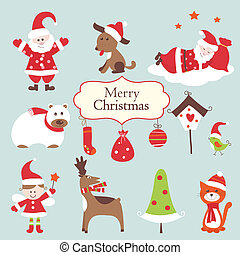 Eine Reihe von Weihnachts-Ikonen.